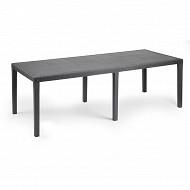 IPAE Progarden table rectangulaire queen rotin anthracite rallonge l220xp90xh72