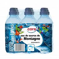 Cora eau de source de montagne Roche des écrins bouchon sport 6 x 33cl