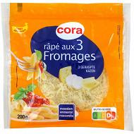 Cora râpé aux 3 fromages maasdam emmental mozzarella sachet zip 200g