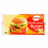 Cora 20 tranches fromage fondu pour hamburger 340g