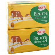 Cora beurre plaquette demi-sel 2x250g