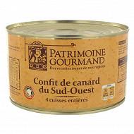 Patrimoine gourmand confit de canard 4 cuisses 1350g