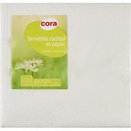 Cora serviettes x50 blanche 25x25cm 3 plis