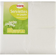 Cora serviettes x100 blanches 33x33cm 2 plis