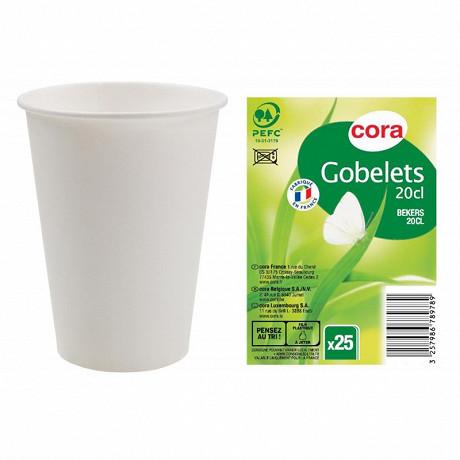 Cora gobelets 20 CL X 25 blanc