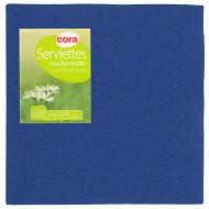Cora serviettes x40 bleu marine toucher textile 38x38 cm 2 plis