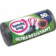 Handy bag sacs poubelle x10 poignées coulissantes ultra résistant 50 litres