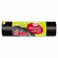 Cora sacs poubelle x20 liens coulissants 30l