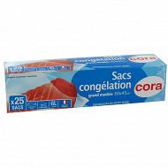 Cora sacs congélation x25 à soufflet grand modèle
