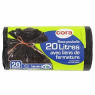 Cora sacs poubelles x20 liens classiques 20l