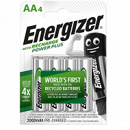 Energizer 4 piles rechargeables AA 2000 mAh déjà chargées accu recharge power plus