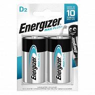 Energizer 2 piles alcalines D (LR20) max plus