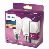 Philips ampoule LED Classic 75W A60 E27 WW FR ND RF boite de 2