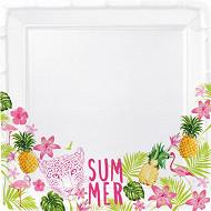 Mesa bella assiette x8 tropical summer en carton 24x24cm