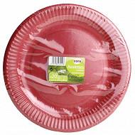 Cora assiettes x20 rondes rouge 23cm