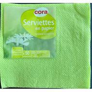 Cora serviettes x50 vert granny 20x20cm