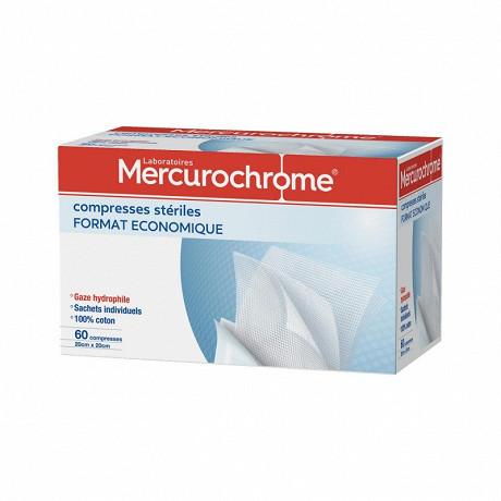 Mercurochrome Compresses stériles, 20cmx20cm, 60 unités