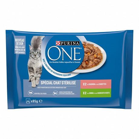 One effilés chat one stérilisé saumon / dinde sachet 4 x 85g