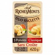 RichesMonts duo raclette sans croûte nature et poivre 420g