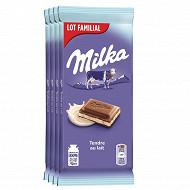 Milka tendre au lait lot familial 4 x 100g