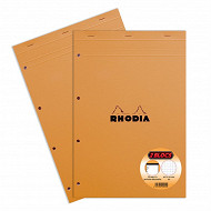 Rhodia lot de 2 blocs note perforé 210x318 160 pages petits carreaux