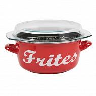 """Friteuse """"frites"""" émail rouge induction 26cm"""