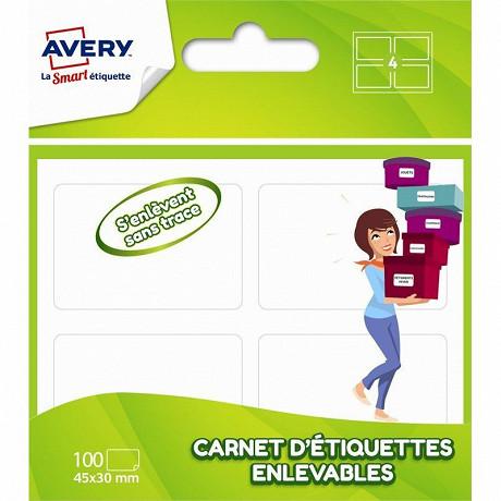 Avery- 100 étiquettes enlevables en carnet-45x30 mm