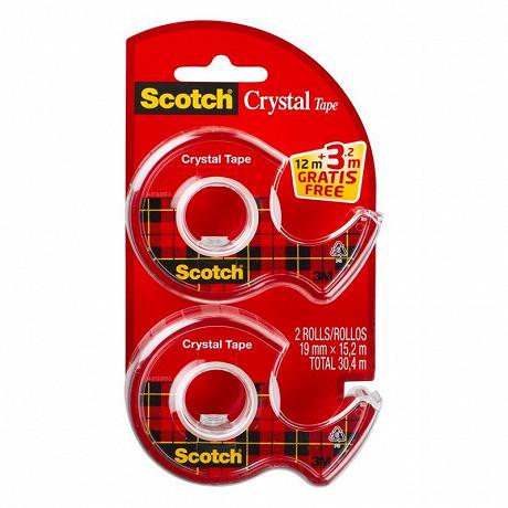 Scotch twin pack 2 dévidoirs de ruban crystal 19x15m +3,2 mètres offert