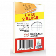 Cora lot de 2 blocs agrafé format a7 74 x 105 mm