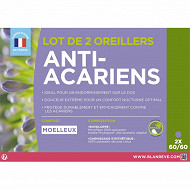 Lot 2 oreillers 60x60 anti acariens phytopure