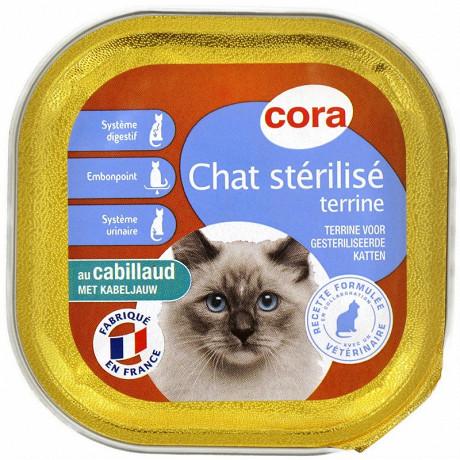Cora terrine chat stérilisé au cabillaud 100g