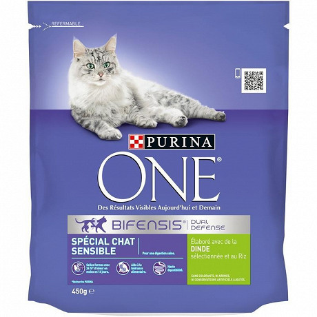 One adulte spéciale chat sensible 450g
