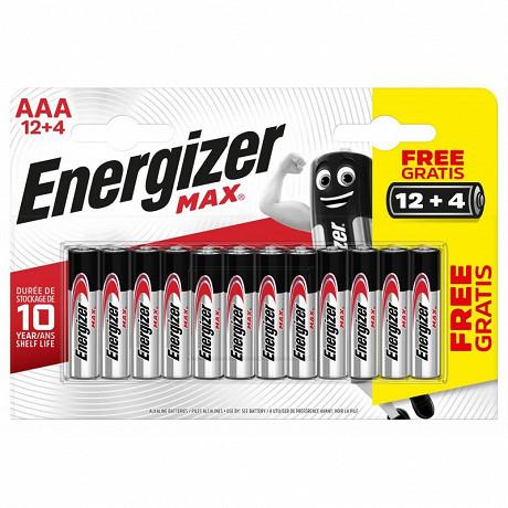 Energizer 16 piles Max AAA (lr03) 12+4 piles gratuites