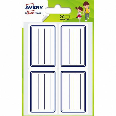 Avery-20 étiquettes scolaires bleues - 36x56 mm