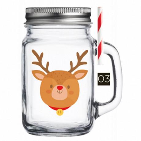 Drinking jar 450ml décor rennes