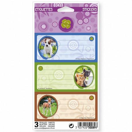 Animeaux domestiques Nature future 9 étiquettes adhésives 3 planches 75x100 3 visuels