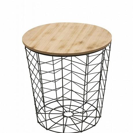 """Table filaire """"chevron"""" noir h 40cm"""