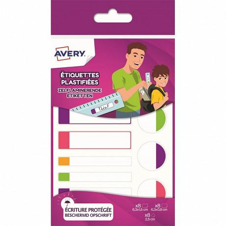 Avery 24 étiquettes auto-plastifiées fluo assortiment