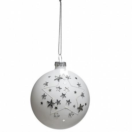 """Boule verre """"strass étoile""""diam 8cm"""