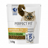 Perfect fit chat sec sensitive riche en dinde 1.4kg