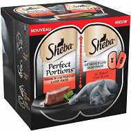 Sheba perfect portions barquettes terrine au boeuf pour chat 6x37g