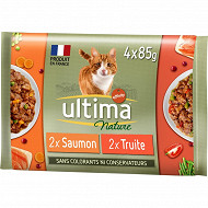 Ultima nature bouchees saumon & truite 4x85g