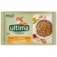 Ultima nature bouchees poulet & volaille 4x85g
