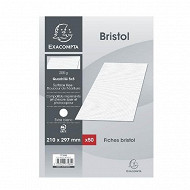 Exacompta - 50 fiches bristol non perforées 21x29.7 cm petits carreaux 205 grammes