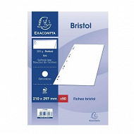 Exacompta 50 fiches bristol blanches perforées 21x29.7 cm uni pefc 205 grammes