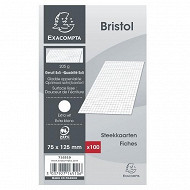Exacompta  100 fiches bristol blanches non perforées 75*125 5*5