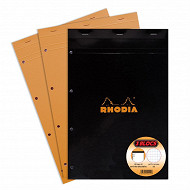Rhodia lot de 2+1 bloc perforé petits carreaux 210x318 160 pages