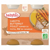 Babybio pot carotte courge poulet riz sans gluten 6 mois 2 x 200g