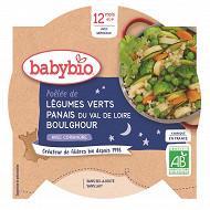 Babybio assiette légumes verts panais boulgour 12mois 230g