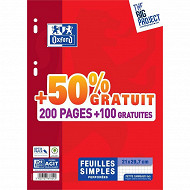 Oxford feuillets mobiles 300 pages a4 seyes 90 grammes - 200+100 offertes